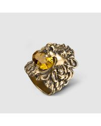 Gucci | Multicolor Lion Head Ring With Crystal | Lyst