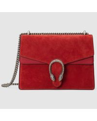8f2908df424df8 Gucci Dionysus Suede Shoulder Bag in Red - Lyst