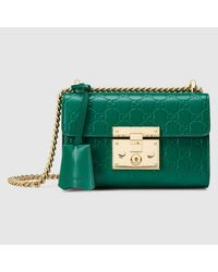 2e4886d0bcd8 Gucci Padlock Signature Shoulder Bag in Green - Lyst