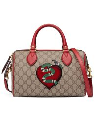 Gucci   Red Limited Edition Gg Supreme Top Handle Bag With Embroideries   Lyst