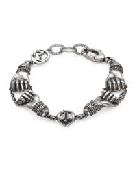 Gucci - Metallic Bracelet In Silver With Hand Motif - Lyst
