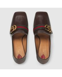 Gucci - Brown Leather Mid-heel Loafer - Lyst