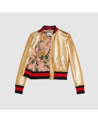 Gucci - Metallic Leather Bomber Jacket - Lyst