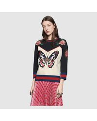 Gucci Black Embroidered Bonded Cotton Top