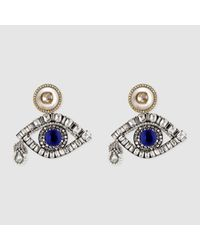 Gucci - Metallic Eye Earrings With Crystals - Lyst