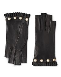 Gucci Black Studded Leather Fingerless Glove
