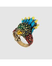 Gucci - Multicolor Varnished Bird Ring With Crystal - Lyst
