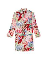 Gucci | Red Hydrangea Print Silk Dress | Lyst