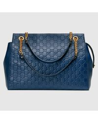 6b142ee4b06 Lyst - Gucci Soft Signature Shoulder Bag in Blue
