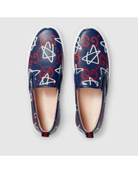 Gucci - Multicolor Ghost Print Leather Slip-on Sneaker - Lyst