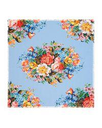 Gucci | Blue Floral Print Silk Scarf | Lyst