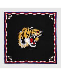 Gucci - Black Tiger Print Modal Silk Scarf - Lyst