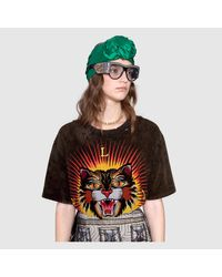 Gucci - Black Embroidered Cotton T-shirt - Lyst