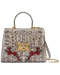 4d1e77df432b Lyst - Gucci Iside Snakeskin Top Handle Shoulder Bag in Natural