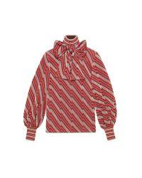 Gucci - Red Diagonal Jacquard Lurex Turtleneck Top - Lyst