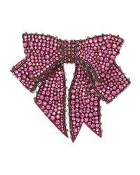 Gucci - Purple Crystal Bow Brooch - Lyst