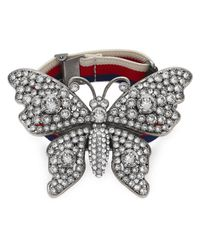 Gucci - Multicolor Crystal Studded Butterfly Bracelet - Lyst