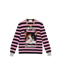 Gucci | Black Cat Embroidered Knit Top | Lyst