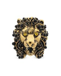 Gucci - Metallic Lion Head Ring With Crystals - Lyst