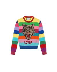 Gucci - Multicolor Wool Sweater With Embroidery - Lyst