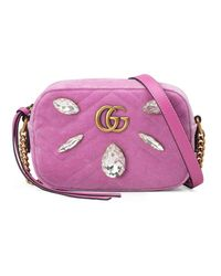 a4897e1eb4a7 Gucci Gg Marmont Velvet Mini Bag in Pink - Lyst