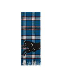 Gucci - Blue Check Wool Scarf With Wolf - Lyst