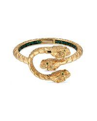Gucci - Metallic 18k Yellow Gold Dionysus Tsavorite Bangle - Lyst