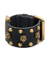 Gucci - Black Leather Cuff Bracelet for Men - Lyst