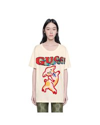 Gucci - White Women's Oversize Cotton T-shirt With Piglet - Lyst