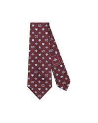 Gucci Purple Symbols Motif Silk Tie for men