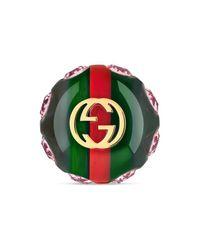 Gucci - Green Vintage Web Brooch - Lyst