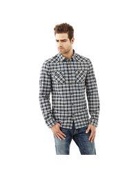 Guess   Blue Check Cotton Shirt for Men   Lyst