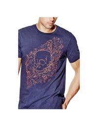Guess - Blue Short-sleeve Skull Floral Crewneck Tee for Men - Lyst