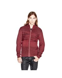 Guess | Red Marled Zip Sweater for Men | Lyst