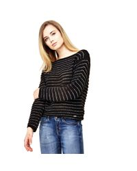 Guess | Black Ribbed Sweater | Lyst