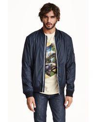 H&M | Blue Bomber Jacket for Men | Lyst