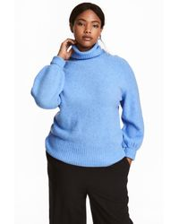 H&M | Blue + Knitted Polo-neck Jumper | Lyst