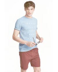 H&M | Blue Printed T-shirt for Men | Lyst