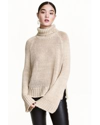 H&M | Natural Chunky-knit Polo-neck Jumper | Lyst