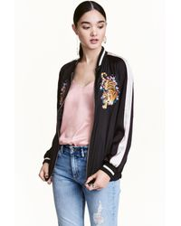 H&M | Black Embroidered Baseball Jacket | Lyst