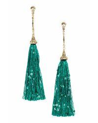 H&M - Green Long Earrings With Tassels - Lyst