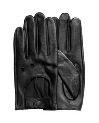 H&M - Black Leather Gloves for Men - Lyst