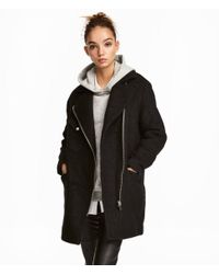 H&M - Black Wool-blend Biker Coat - Lyst