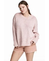 H&M - Pink + Knitted Jumper - Lyst