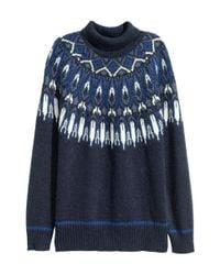 H&M - Blue Jacquard-knit Polo-neck Jumper - Lyst