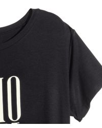 H&M - Black Long T-shirt - Lyst