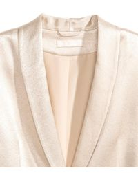 H&M - Natural Tie-belt Satin Jacket - Lyst