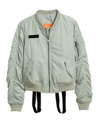H&M - Green Bomber Jacket With Braces - Lyst