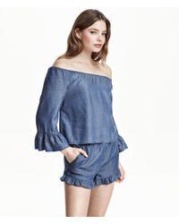 H&M - Blue Off-the-shoulder Blouse - Lyst