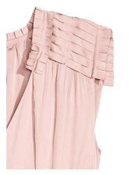 H&M - Pink Crêpe Satin Dress - Lyst